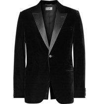 Saint Laurent Black Slim Fit Satin Trimmed Velvet Blazer Black