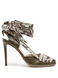 Altuzarra Python Print Ribbon D'orsay Leather Pumps Khaki Multi