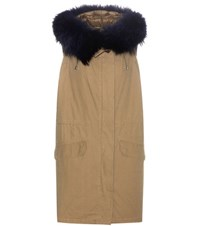Army By Yves Salomon Fur Trimmed Cotton Vest Green