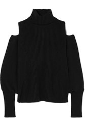 Antonio Berardi Cold Shoulder Ribbed Wool And Cashmere Blend Turtleneck Sweater Black