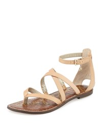 Sam Edelman Gilroy Strappy Leather Flat Thong Sandal Natural Naked