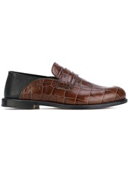 Loewe Crocodile Effect Penny Loafers Women Leather 40 Brown
