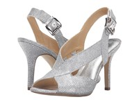 Michael Michael Kors Becky Sandal White Silver Silver Metallic Lurex Women's Dress Sandals