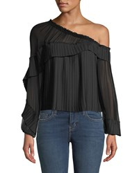 Ramy Brook Aurora One Shoulder Pleated Long Sleeve Top Black