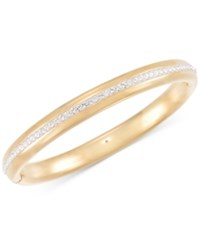 Signature Gold Swarovski Zirconia Bangle Bracelet In 14K Over Resin Gold