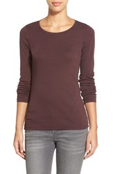 Women's Caslon Long Sleeve Scoop Neck Cotton Tee Burgundy Fudge