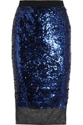 By Malene Birger Mandias Sequined Stretch Mesh Skirt Royal Blue