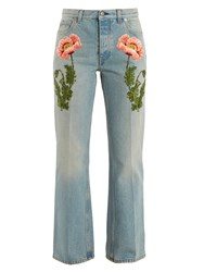 Gucci Flower Embroidered Straight Leg Jeans Denim