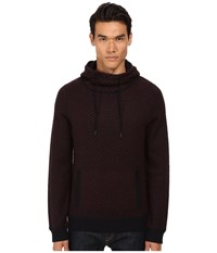 Vince Brushed Mohair Pullover Hoodie Black Cherry Men's Sweatshirt Burgundy