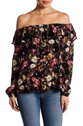 Hip Off The Shoulder Floral Ruffle Woven Shirt Multi