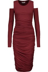 Bailey 44 Cutout Ruched Stretch Jersey Dress Burgundy