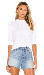 Velvet By Graham And Spencer Rosabel Linen Blouse In White.