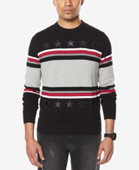Sean John Men's Stripe Sweater With Faux Leather Stars Black