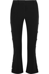 Versus By Versace Cropped Embellished Crepe Flared Pants Black