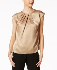 Kasper Satin Pleat Neck Shell Toffee