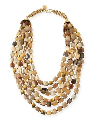 Ashley Pittman Kila Light Horn Multi Strand Necklace