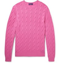 Ralph Lauren Purple Label Cable Knit Cashmere Sweater Pink