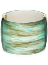 Alexis Bittar Marble Effect Hinged Cuff Green