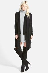 Leith Waterfall Open Front Cardigan Black