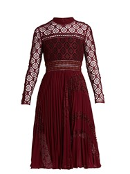 Self Portrait Symm Lace Panelled Midi Dress Burgundy