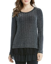 Karen Kane Metallic Chevron Sweater Black Silver