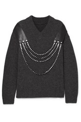 Christopher Kane Oversized Embellished Leather Trimmed Wool Sweater Gray