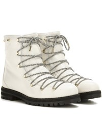 Jimmy Choo Drake Flat Shearling Lined Leather Boots White