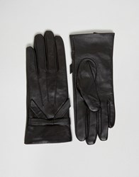 Oasis Real Leather Bow Gloves Black