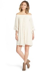 Fire Tassel Trim Off The Shoulder Dress Juniors White