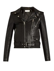 Saint Laurent Blood Luster Cropped Leather Jacket Black Multi