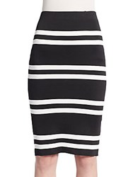 Cameo Pyramid Striped Pencil Skirt Black Ivory
