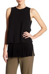 Theory Sleeveless Pleated Tiered Blouse Black