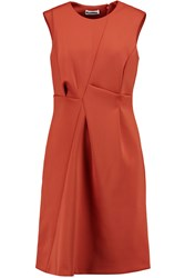 Jil Sander Pleated Stretch Scuba Dress Orange