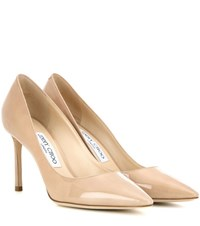 Jimmy Choo Romy 85 Patent Leather Pumps Beige