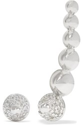 Noir Silver Tone And Cubic Zirconia Ear Cuff And Earring Set Metallic