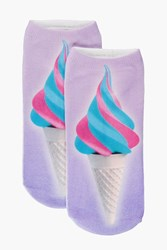 Boohoo Ice Cream Ankle Socks Purple