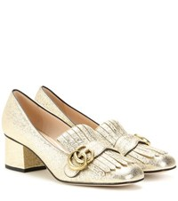 Gucci Metallic Leather Loafer Pumps Gold