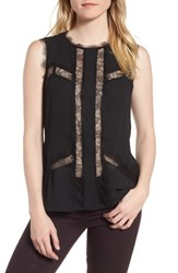 Chelsea 28 Chelsea28 Lace And Chiffon Top Black