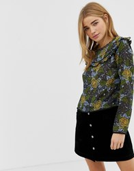 Qed London Printed Blouse With Frill Detail Multi