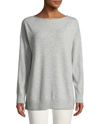 Lafayette 148 New York Cashmere Relaxed Pullover Sweater Grey Heather