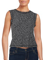 Saks Fifth Avenue Cropped Knit Top Black
