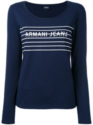 Armani Jeans Printed Knitted Top Women Cotton Spandex Elastane 46 Blue
