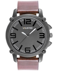 Unlisted Men's Brown Strap Watch 48Mm Ul1300