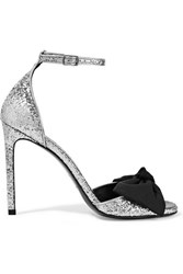 Saint Laurent Jane Bow Embellished Glittered Satin Sandals Silver