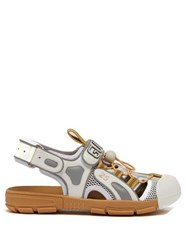 Gucci Logo Embossed Cut Out Leather Sandals White Multi