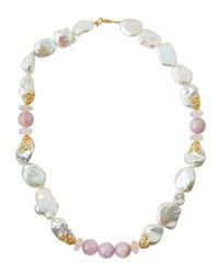 Indulgems Mixed Freshwater Pearl Kunzite And Quartz Necklace