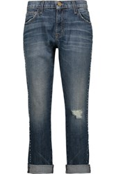Current Elliott The Fling Studded Distressed Low Rise Boyfriend Jeans Mid Denim