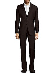 Versace Slim Fit Solid Wool Suit Black