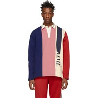 Aime Leon Dore Navy And Pink French Terry Rugby Polo