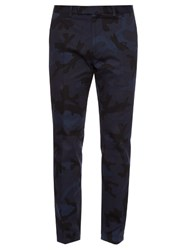 Valentino Camouflage Print Cotton Trousers Navy